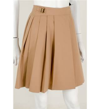 Skirts of the Harvest Collection: Vintage 1970's Cacharel Size: 4 Beige Pleated Skirt