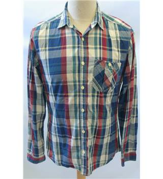 Next - Size: M - Blue white red green checked - Men's Long-sleeved shirt