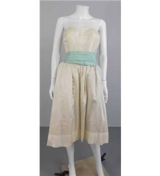 Vintage 1950s Muriel Martin Size 12 Ivory Tea Length Dress with Duck Egg Blue Waistband