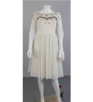 Ted Baker Langley Size 8 Ivory Jewelled Tea Length Dress