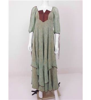 Floor Length Wonder Collection: Vintage 1970s Anna Belinda Size 6/8 Pastel Green/Brown Square Patterned Maxi Dress