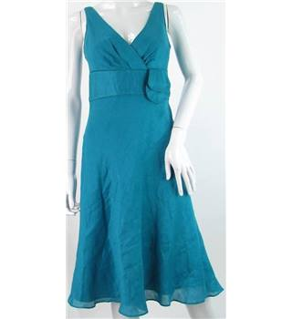 *Monsoon Size: 8 Turquoise Linen/Silk Mix Knee length dress