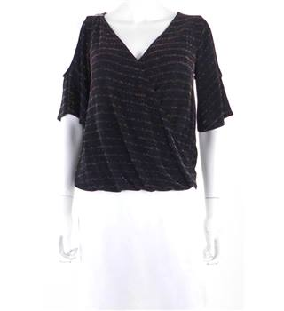 Unbranded Size 12 Black with Multicoloured Glitter Cold Shoulder Top
