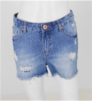 "New Look Size: 28"" Blue Denim Ripped Shorts"