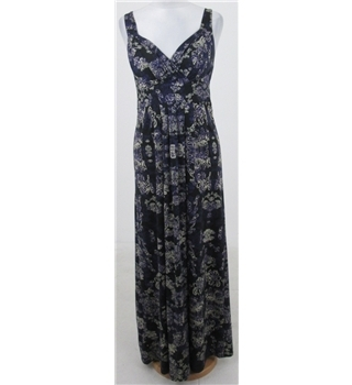 Flower, size 8 black, purple & beige floral print dress