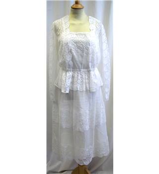 Vintage 70's - Berketex - Size: 12 - Ivory and white - Lace wedding dress