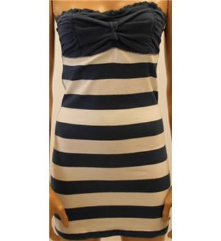 Hollister Size M Blue and White Stripe Strapless Bandeau Dress