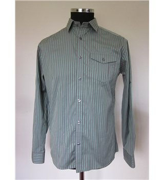 Marks and Spencer Size: M Grey/Green Stripe Long Sleeved Shirt