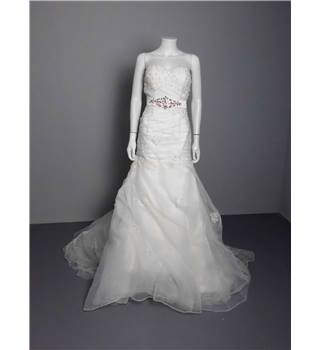 Strapless Embellished Organza Ivory Wedding Gown - Size 10