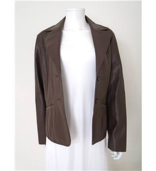 Vintage 1990s Conrad Size 16 Chocolate Faux Leather Jacket