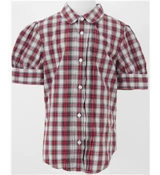 Ralph Lauren Size 10 Years Red White & Black Short Sleeved Checked Shirt
