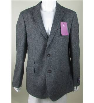 "BNWT M&S Marks & Spencer - Size: 44"" - Grey/Black - Herringbone - Pure New Wool Single Breasted Jacket"