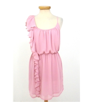Topshop Size: 10 Pastel Flamingo Pink Ruffled Knee length dress