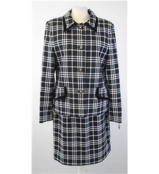 Vintage Size 12 Black & White Checked Two Piece Skirt Suit