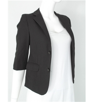 *Vinatge Mister Super Size: 6 Tailored Cropped Blazer in Brown with White Dotted Pinstripes