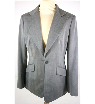 Planet Size: 10/12 Grey With Fine Pinstripe Smart Viscose Mix Suit