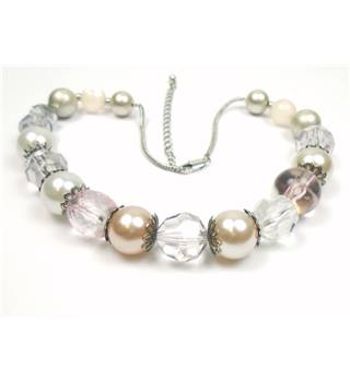 Silver tone pink, white & clear plastic necklace