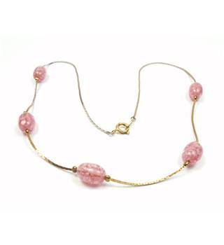 Gold tone cobra chain with oval pink bead link necklace