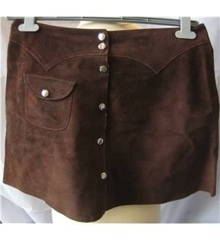 Vintage early 1970s brown suede A line skirt W 31 inches Unbranded - Size: 30 - Brown - A-line skirt