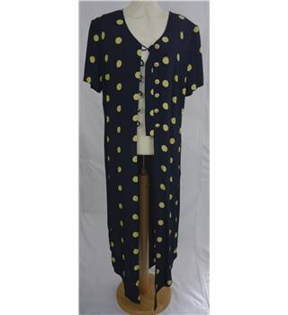Joseph Ribkoff Size 14 Navy and Yellow Polka Dot Tunic