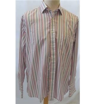 Van Heusen - Size: XL - Pink Orange Black & White - Men's Long-sleeved Shirt