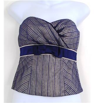 BNWT Monsoon Size 8 Blue Silk Strapless Bustier Top