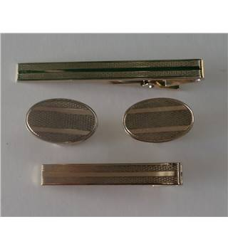 Vintage Stratton matching Tie-clips & cufflinks 1960's in stud box