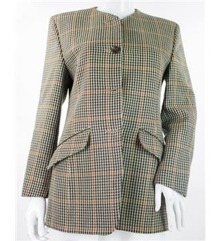 DAKS Signature - Size: 10 - Brown, Black, Beige, Cream Houndstooth - Wool Suit jacket