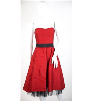 Oasis - Size: 8 - Red - 100% silk - Knee length dress