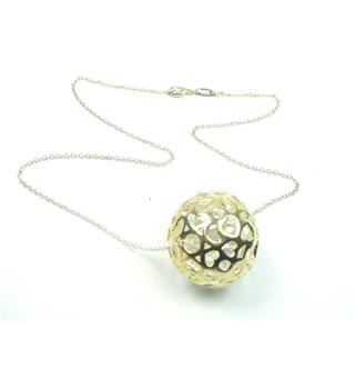 Silver chain & filigree ball with hearts pendant - 925 stamp