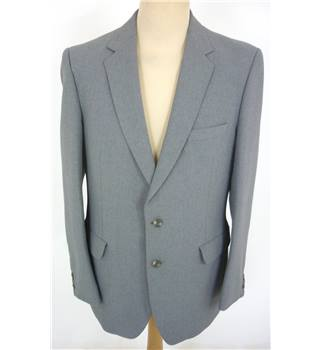 "C & A Size: L, 42"" chest, tailored fit Aircraft Blue Grey Smart/Stylish Polyester Single Breasted Jacket."