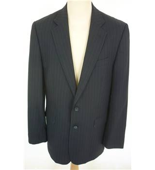 "Charles Tyrwhitt Size: L, 42"" chest, reg fit Dark Navy Blue With Fine Pinstripe Stylish Wool Designer Single Breasted Jacket"