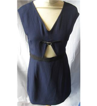 Oliver Bonas navy textured open midriff dress size 10 Oliver Bonas - Size: 10 - Blue - Mini dress