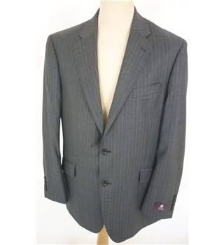 "M & S  Size: L, 42"", regular fit Grey With Fine Blue Pinstripe Smart/Stylish Pure New Wool Single  Breasted Jacket."