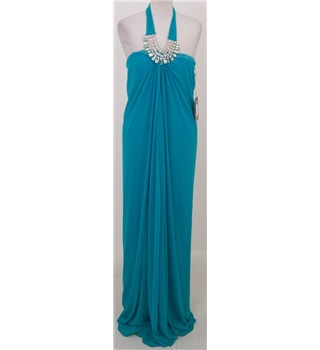 BNWT Forever Unique: Size 8 Turquoise halter-neck diamante dress