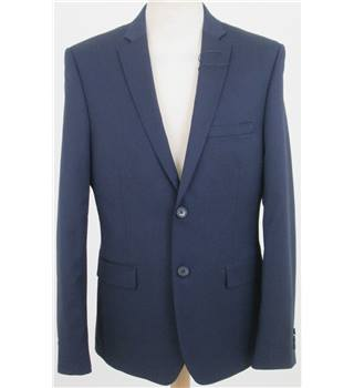 NWOT M&S Size: 36'' L Navy Blue Fine Striped Single breasted blazer