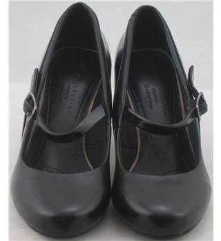 M&S Collection size 3  black with strap court shoes