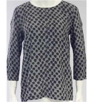 Jaeger Size 12 Grey And Black Long Sleeved Silk Blouse