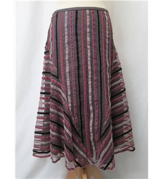 French Connection - Size: 12 - Pink/grey striped - Gypsy skirt