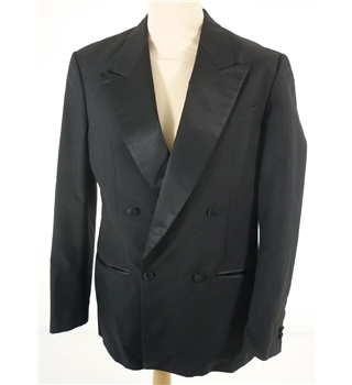 Moss Bros Size: M Black Wool Double Breasted Tuxedo Jacket