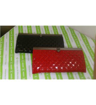 TWO NEW PATENT BLACK AND RED PURSES / CARD HOLDERS Unbranded - Multi-coloured