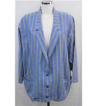 Jeffrey Rogers blue striped long jacket Size M