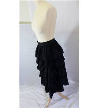 Vintage Volonte - Size 12 - Black - Tiered Calf-length Skirt
