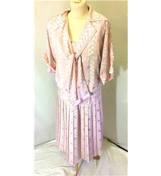 Vintage Gina Bacconi - Size 16 - Pink & white - Dress