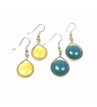 Yellow & teal round drop pierced hook earrings x 2