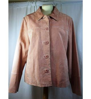 Papaya size 16 pink suede leather jacket