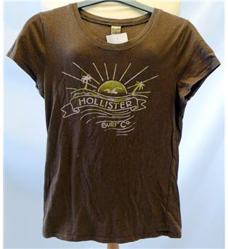 Hollister - Size: S - Light Brown - Ladies' T-Shirt with front motifs