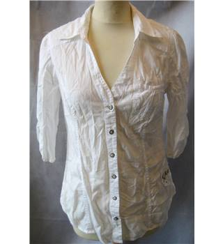 Guess - Size: S - White-Striped-3/4 Sleeve-Collared-V Neck-Cotton Shirt