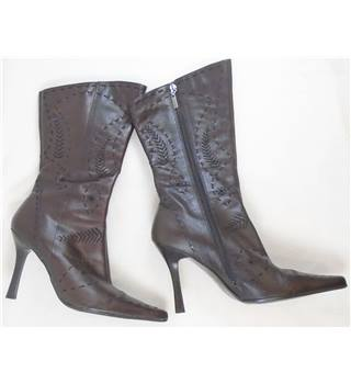 River Island - Size: 7 - Brown Leather - Mid Calf Boots