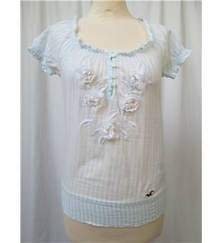 Hollister - Size: XS - Pale Blue/White Stripe - Short Sleeve Blouse